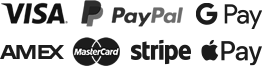 Payment Options: Visa, Mastercard, American Express, PayPal, Google Pay, Apple Pay, Stripe