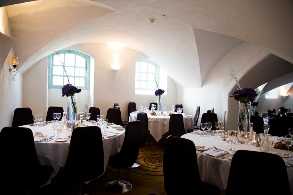 Bellinter House Reception Venue with Tall Purple Hydrangea Flowrr Arrangements
