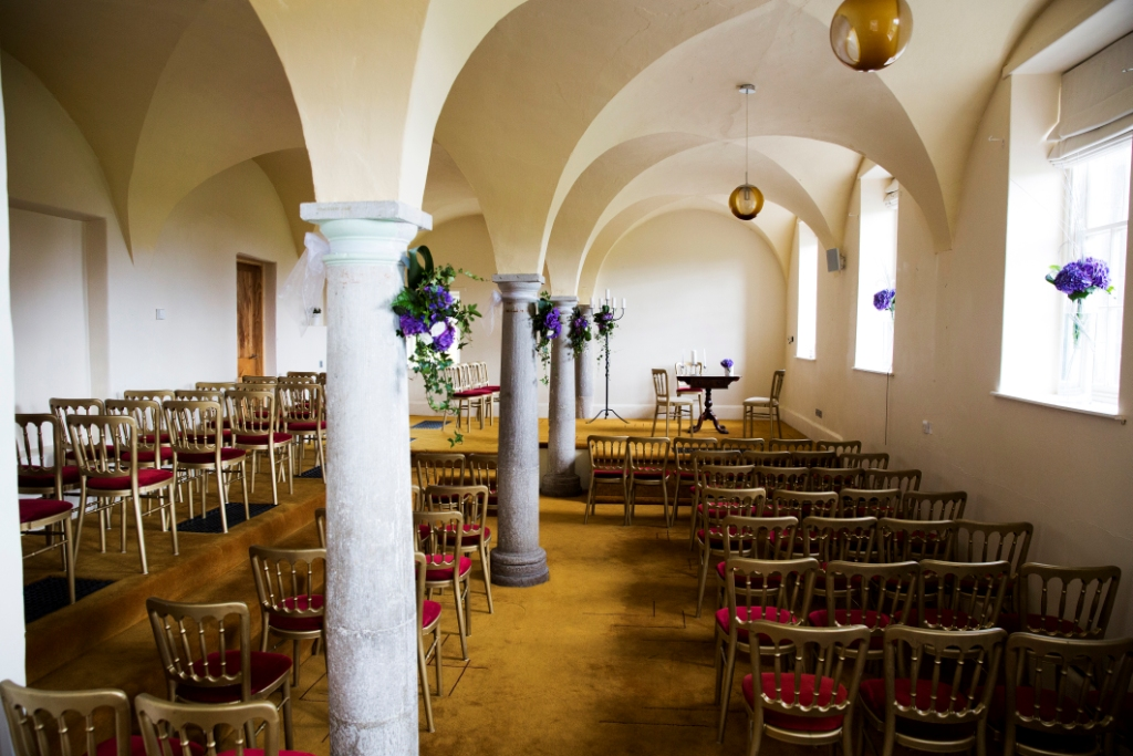 Bellinter House Wedding Service Venue with Purple Hydrangea
