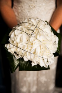 Brides Bouquet of White Hydrangea and Silver Wire Detail