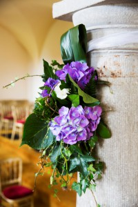Pillar Detail with Blue Hydrangea at Bellinter House