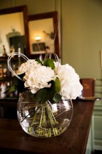 White Hydrangea in Goldfishbowl Vase