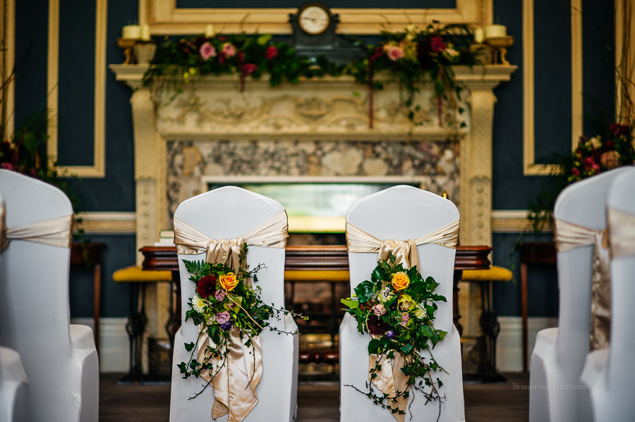 Bride & Grooms Chairs with Chairback Flower Arrangements at St. Stephen's Green Hibernian Club