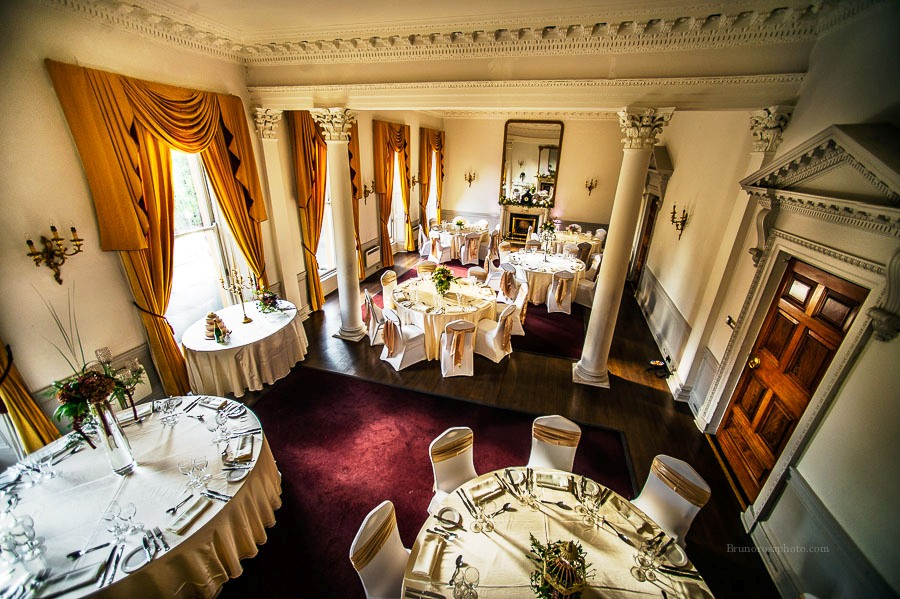 Dining room set for wedding at Hibernian club St. Stephen's Green