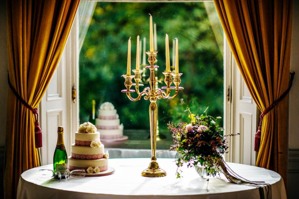 Wedding cake, flower bouquet & candlebra set overlooking St. Stephen's Green Dublin