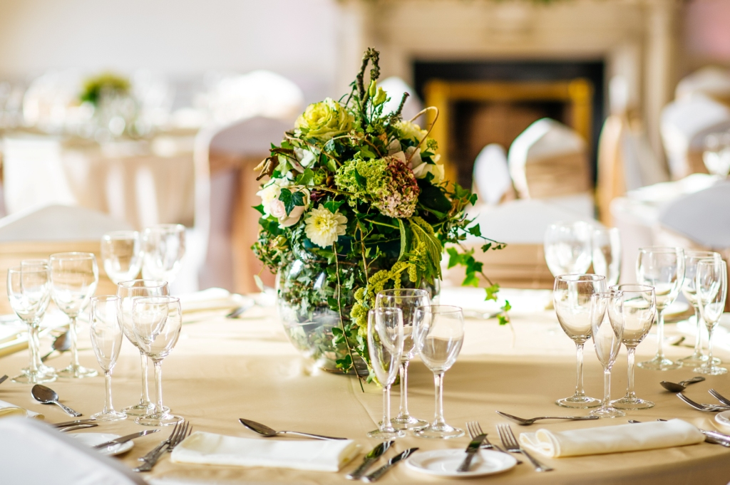 Wedding table setting at Dublin venue 9 St. Stephen's Green
