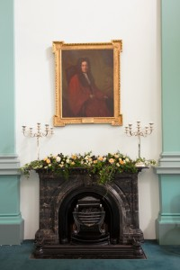 Mantel flower arrangement in Graves Hall at RCPI 6 Kildare St.