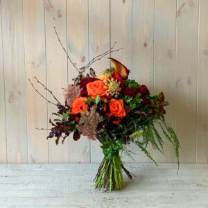 Seasonal flower bouquet of autumn Roses. nationwide delivery available across Ireland