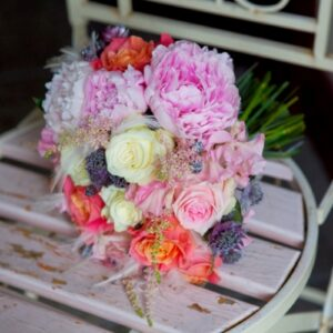 Candy pink and purple brides flower bouquet