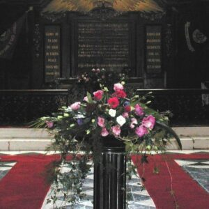 Flower arrangement for a wedding in a Dublin church