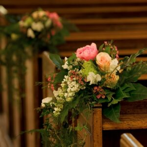 Pew ends in church from wedding flowers images