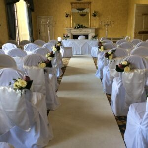 Flowers at civil wedding ceremony in Dublin hotel