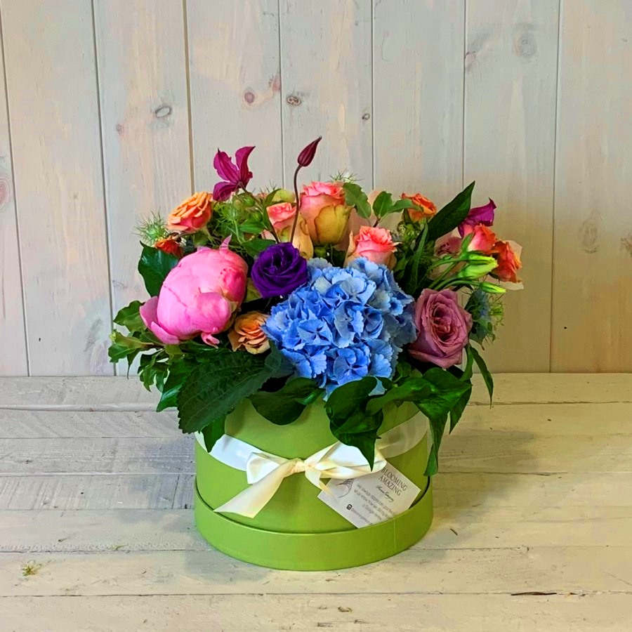 Pretty hatbox full of beautiful country garden flowers