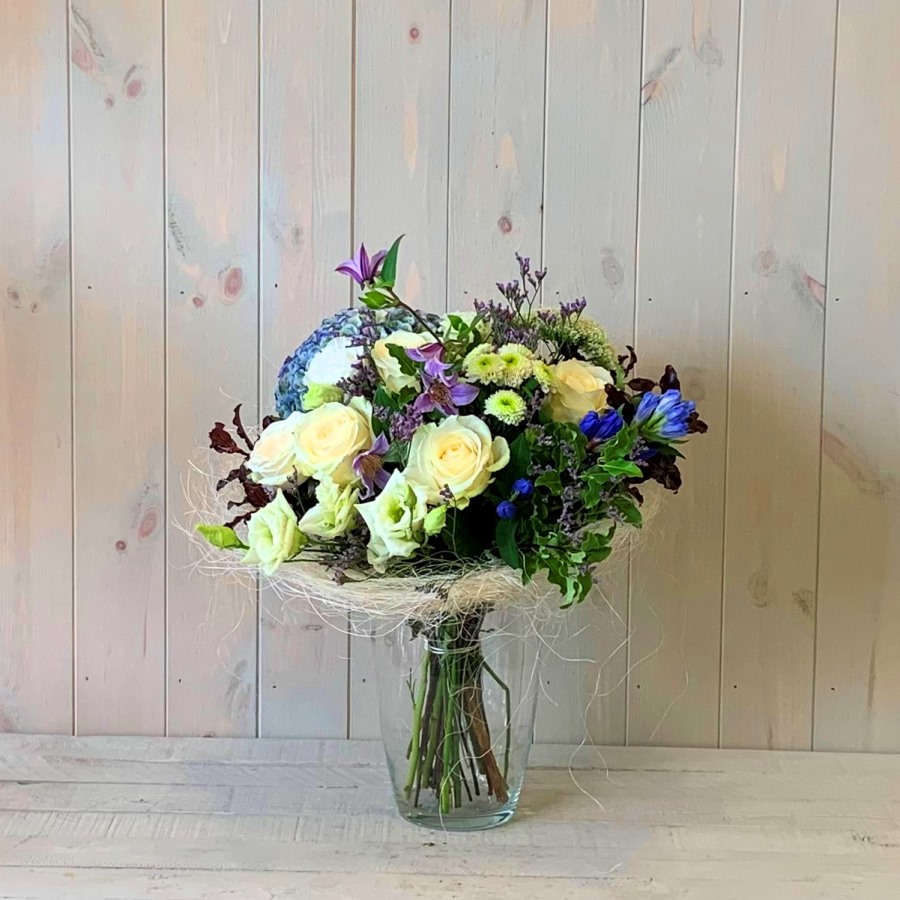 Cream and Blue Flower Bouquet in Vase