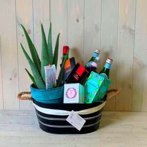 A gift hamper with treats and an aloe very plant for delivery in Dublin.