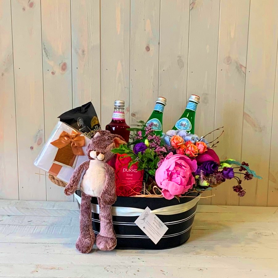 Gift Hamper and Flowers for a New Mum