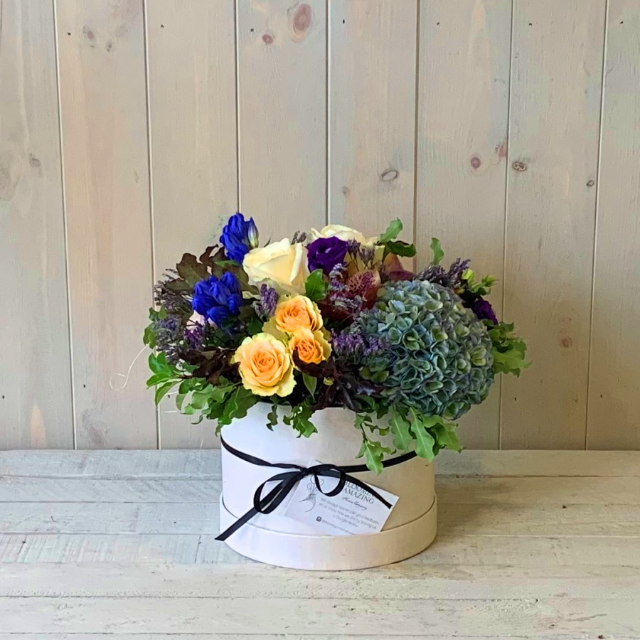 Hatbox Flowers in Blues