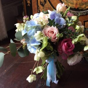 wedding bouquet of hydrangea helleborus and roses