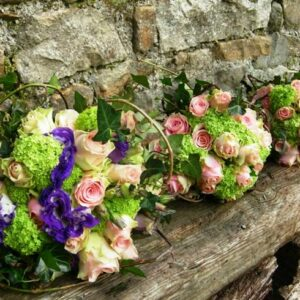 Bride and bridesmaids flower bouquets at a country wedding in March