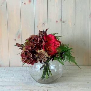 Orchid and Hydrangea Flowers in Goldfish Bowl Vase for gift delivery across Dublin and Ireland