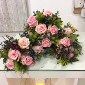 Trio of pink rose bridsmaids bouquets from our wedding flowers image galleryo