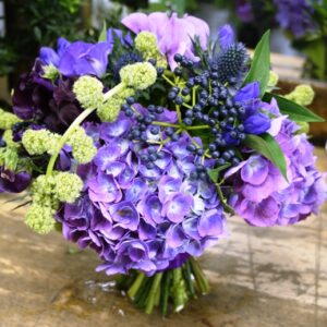 Purples and blues bouquet from our collection of wedding flowers pictures