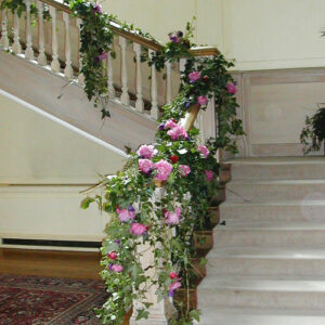 Stairway dressed at Luttrelstown Castle from our gallery of wedding flowers