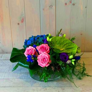 Summer Blooms Arranged in a Glass Dish now with same or next day delivery in Dublin