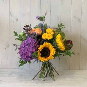 Sunflower and Hydrangea Flower Bouquet foe delivery in dublin city and county or order to collect