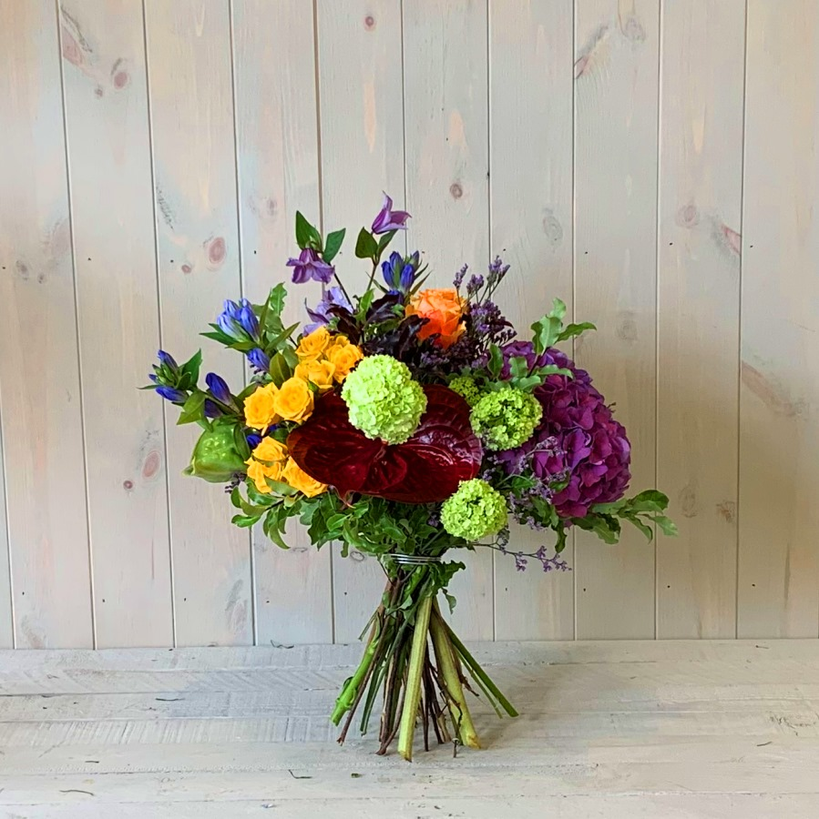 Vivid Yellow and Purple Flower Bouquet