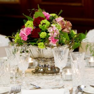 colourful flower table centre from our wedding flowers images designed for a south Dublin hotel wedding venue