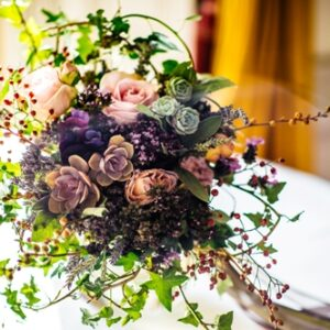 Image of brides wedding flower bouquet with succulents roses and lavender