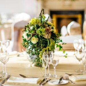 Wedding flowers pictures a table centre designed for St. Stephens Green Hibernia Club Dublin