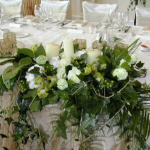 Image of wedding flowers from a top table
