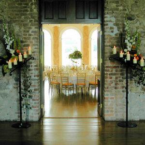 Autumn venue wedding reception with top tabletable