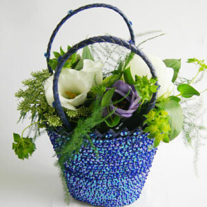 Flower girls bag in blue with white and blue flowers