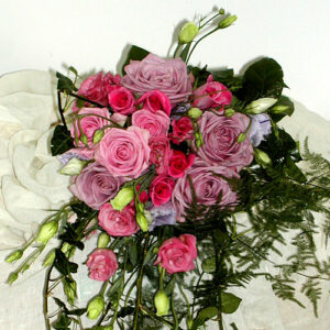 summer wedding bouquet of roses with fern