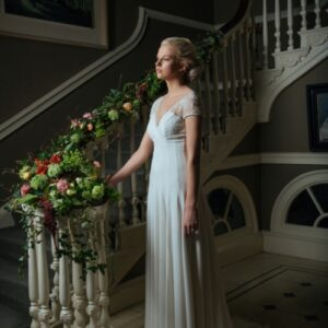 Dressed staircase and bride from our wedding flower images