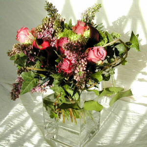 Picture of brides wedding flowers of lilac and roses