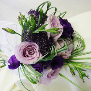 bridal bouquet in purples and lilacs using lisianthus from wedding flowers images