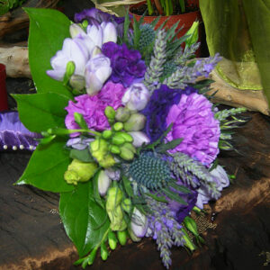 wedding flowers image of bouquet in purples and blues