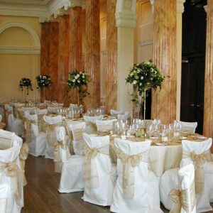 Tall table centres for a wedding