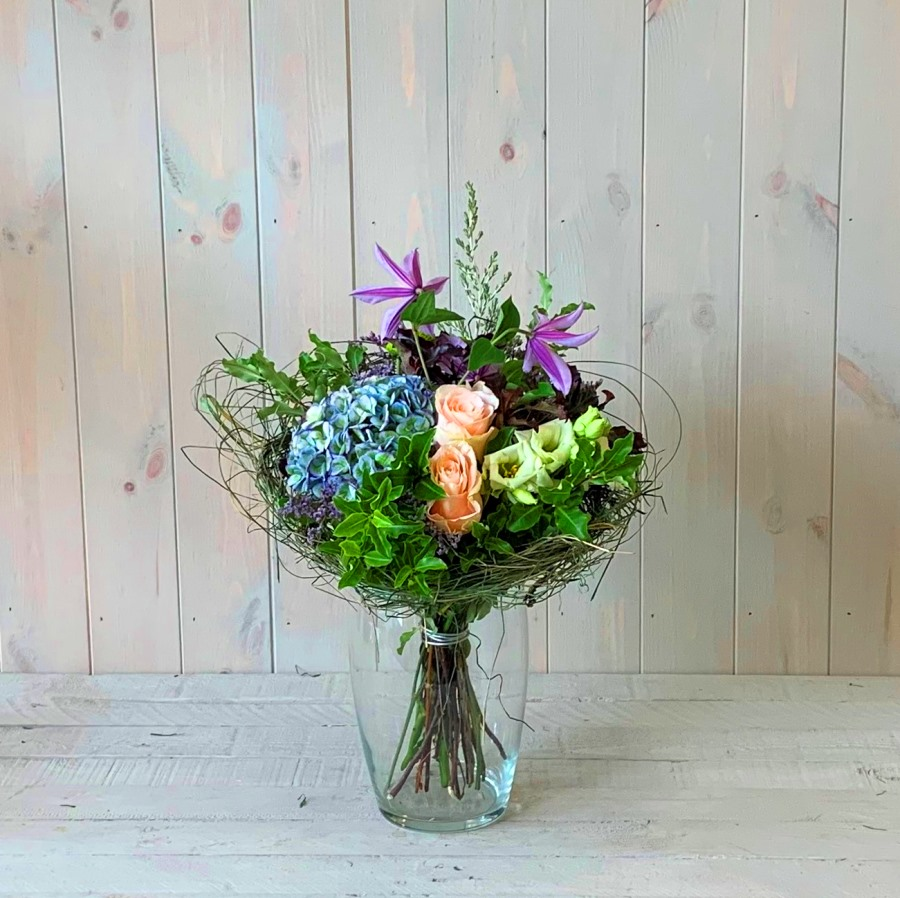 Blues and Creams Flower Bouquet in Sisal Frame