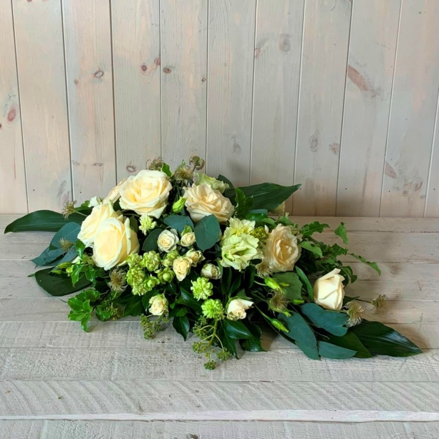 Funeral Spray in Creams Greens and Whites