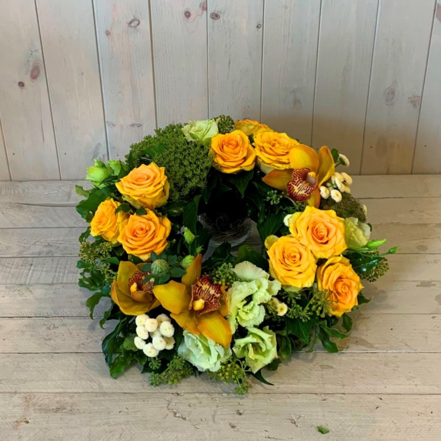 Funeral Wreath in Yellows and Greens