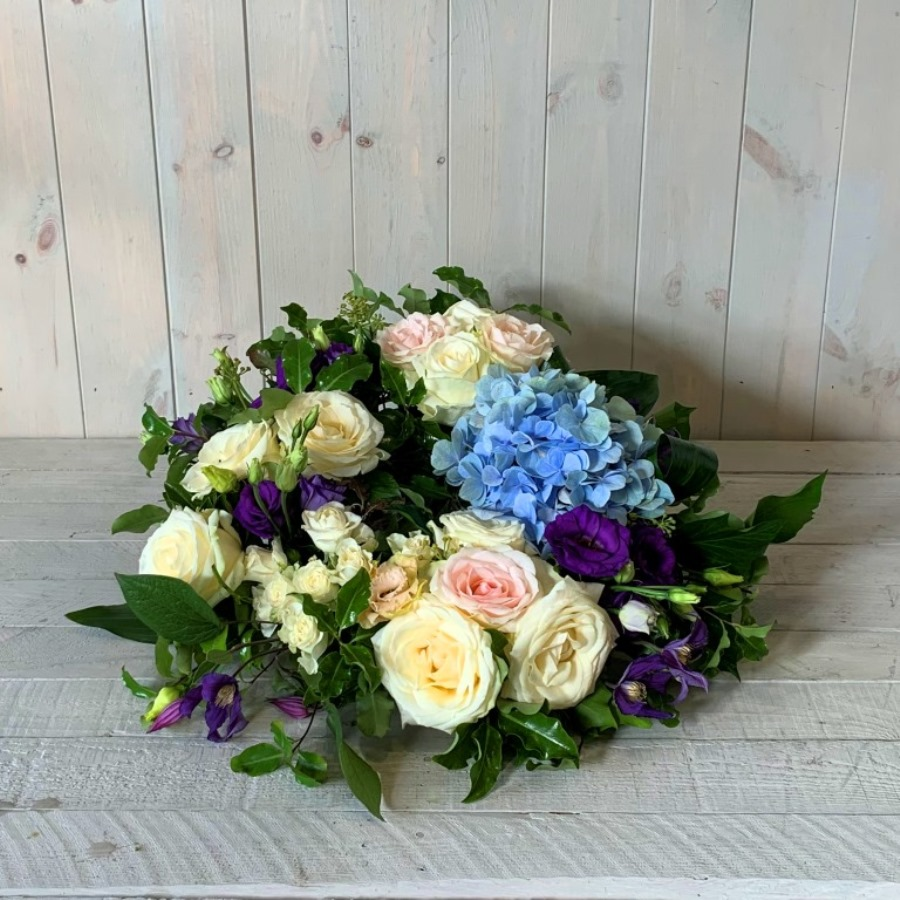 Funeral Wreath in Blues and Creams