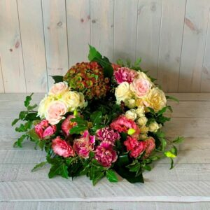 Funeral flowers delivered in Dublin - Funeral wreath in pinks and creams delivery in Dublin