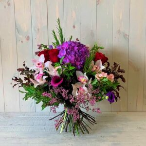 Flower Bouquet in Reds Purples and Pinks with delivery in Dublin and Ireland