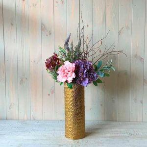 Artificial flowers in Dublin by Blooming Amazing Flower Company Artificial Flowers Purple Hydrangea and Peonies in Gold Vase