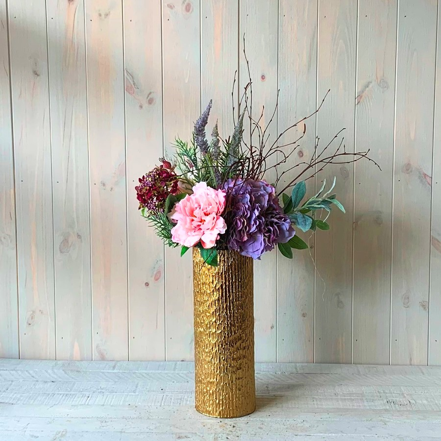 Silk Artificial Flowers – Purple Hydrangea and Peonies in Gold Vase